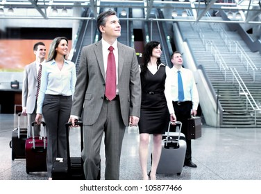Group of business person at the international airport.