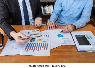 Group of Business team conference on meeting presentation to planning investment project working and strategy of business making conversation with partner, financial and accounting concept.