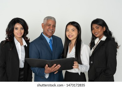Group of business team members working in an office