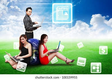 A group of business team present News icon on the sky   : Elements of this image furnished by NASA
