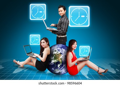A group of business team work and Clock icon : Elements of this image furnished by NASA