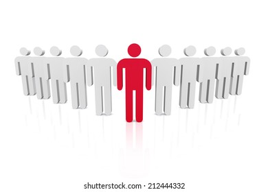 Group of business workers with red team leader on white background.