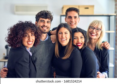 Group of business workers smiling happy and confident. Posing together with smile on face looking at the camera at the office