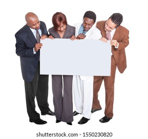 Group of businessman African woman and man wearing smart clothing  isolated on white background