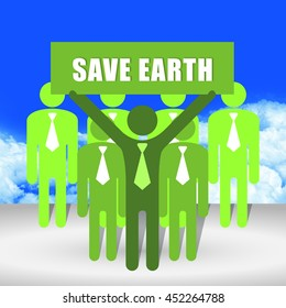 Group of Businessman With Save Earth Sign on Hand in Blue Sky Background