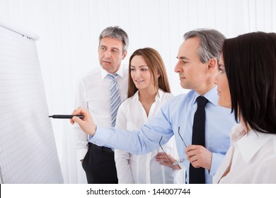 Group Of Businesspeople Discussing New Project On Whiteboard