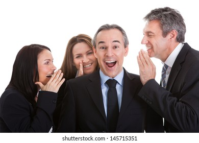 Group Of Businesspeople Gossiping Over White Background