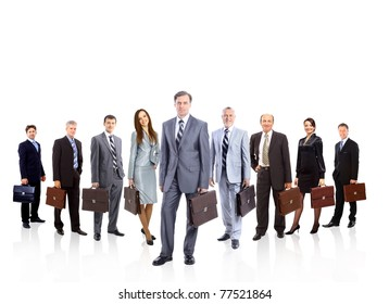 A group of businesspeople, their leader is on the front