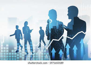 Group of businesspeople working and researching the analytics to predict stock market behaviour. Forex chart and hologram financial downtown cityscape on background. Double exposure.