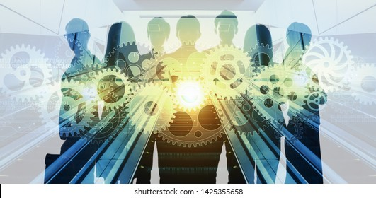 Group of businessperson and technology concept.