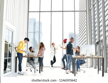 Group of businesspersons discussing  work at the office