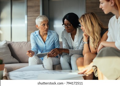 Group of businesswoman having a meeting