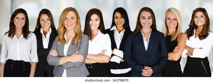 Group of businesswomen working together as a team
