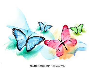Group Butterfly watercolor painting