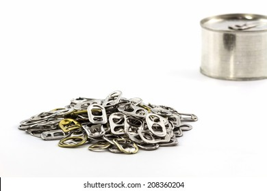 Group of can pull tab on white background.