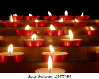 Group of candles on dark background