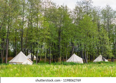 Group of canvas bell tents at forest