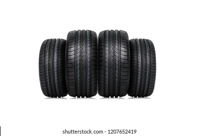 Group of car tires isolated on white background.
