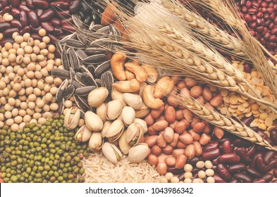 Group of carbohydrate food consisted of soybean, sunflower seed, pistachio, almond, cashew, peanut, rice, black, green, and red bean seeds, with dry wheat, in soft light vintage tone