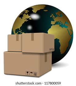 A group of cardboard boxes with earth globe in the background / Global logistics service