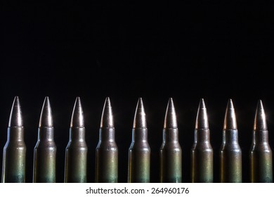 Group of cartridges with steel inserts in the bullets