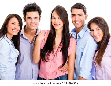 Group of casual friends looking very happy - isolated over white background