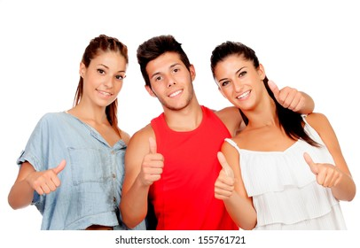 Group of casual friends saying Ok isolated on a white background