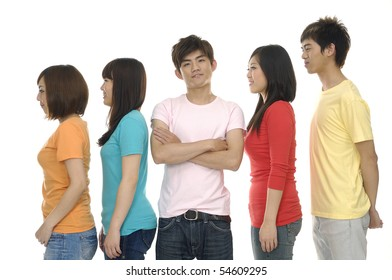 group of casual happy friends smiling and standing isolated over a white background