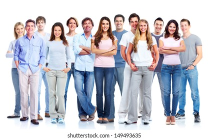 Group of casual people. Isolated over white background. Education.