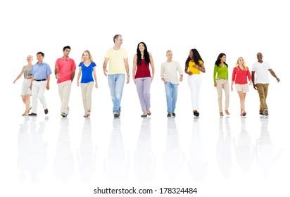 Group of Casual People Walking