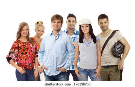 Group of casual young smiling people isolated on white.