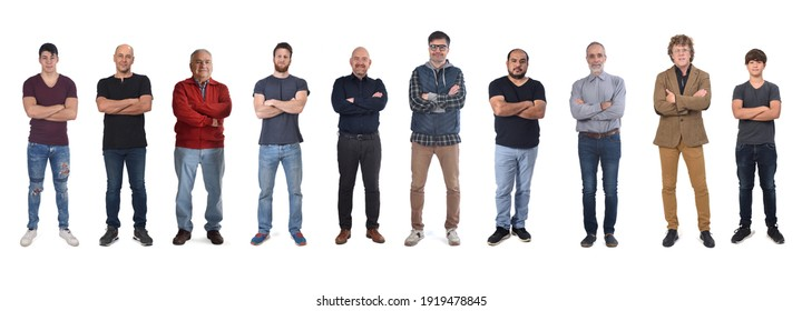 group of caucasian people with arms crossed on white background