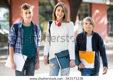 Group Caucasian Teens Going School Papers Stock Photo Edit Now