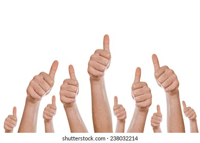 Group of caucasian white people making hand Thumbs up sign isolated on white background for like, approval or endorsement concept.