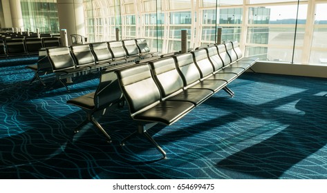 Group of chair at international airport termina in travel concept with sun light