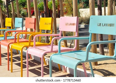 Group of chairs at the beach of Lavandou