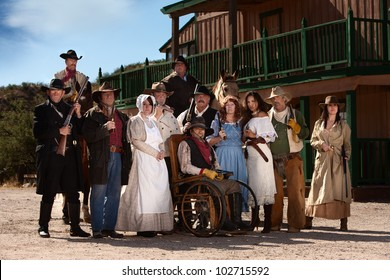 Group of characters for an American old west theme