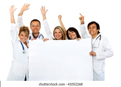 group of cheerful doctors holding a banner ad isolated over white