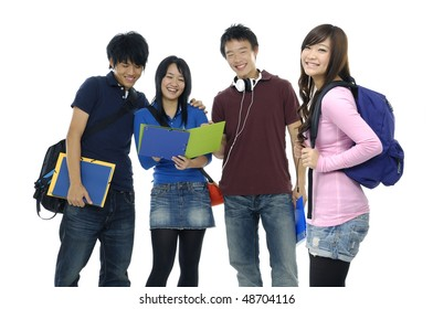 group of cheerful friends with notebooks and paper folders posing