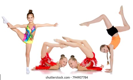Group of cheerful gymnast girls performing various gymnastic and fitness exercises. The concept of an active way of life, sport, happiness, freedom. Isolated on white background.