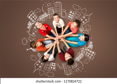 Group of Cheerful   Kids Standing in Circle