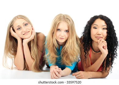 Group of a cheerful young women. Education, holidays.