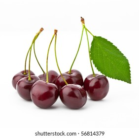 group of cherries on white