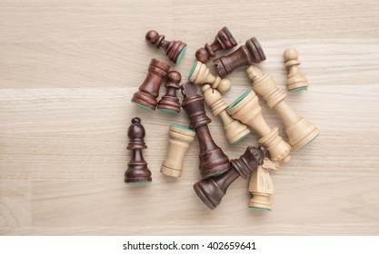 Group of chess pieces from above. Concept of strategy, teamwork and teambuilding.