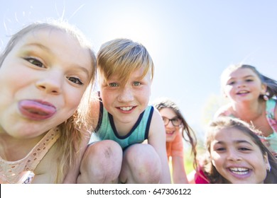A Group of child have fun on a field