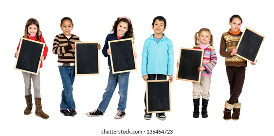 Group of children with black boards isolated in white