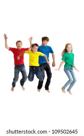 Group of children in bright T-shirt on a white background