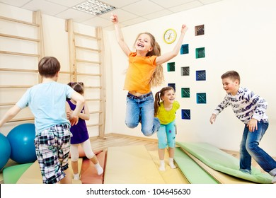 Group of children enjoying gym class