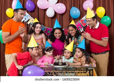 Group of children having fun at birthday party