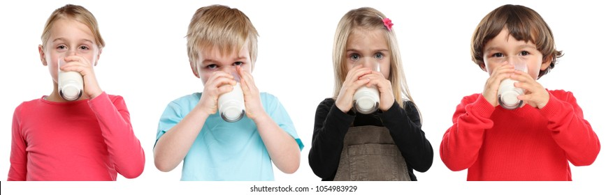 Group of children little girl boy child drinking milk kid glass healthy eating isolated on a white background